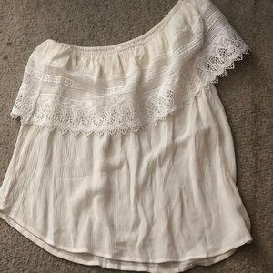 SOCIALITE crochet one shoulder white top